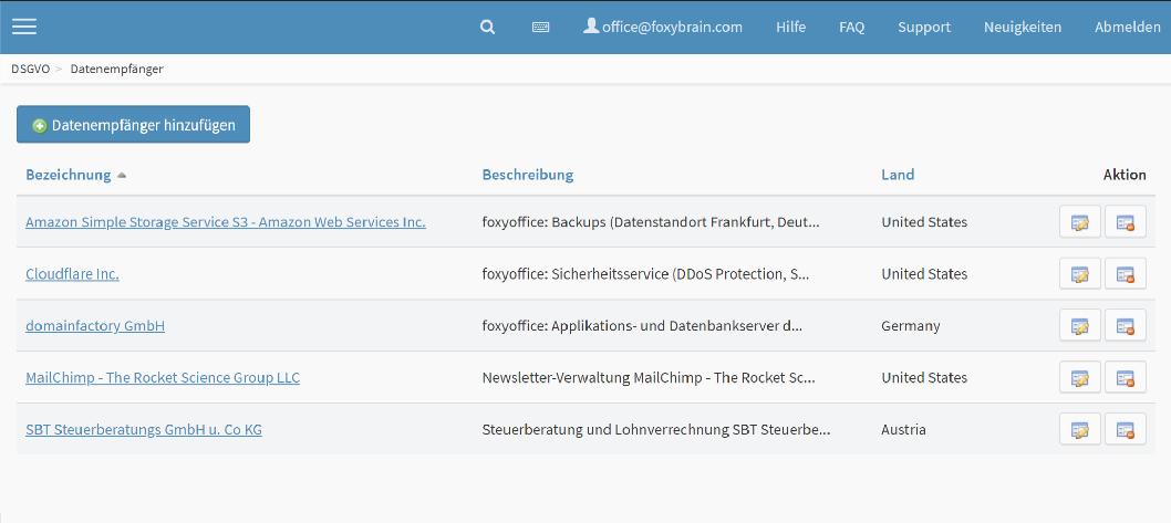 DSGVO Software Datenempfänger verwalten