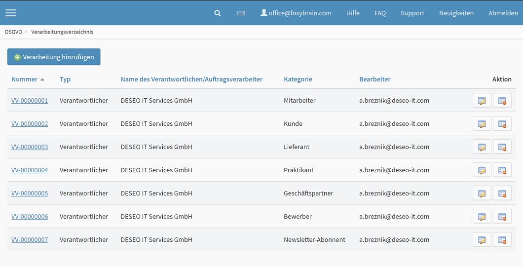 DSGVO Software Verarbeitungsverzeichnis anlegen